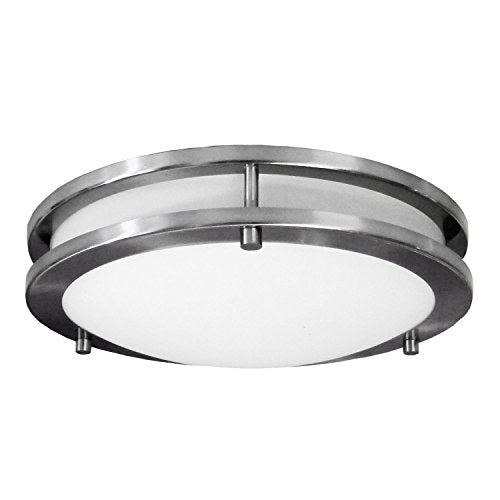 "HomeSelects 6102 Saturn 12"" Surface Mount Ceiling Light, Brushed Nickel with Opal Glass Globe, 12""L x 12""W x 3""H"