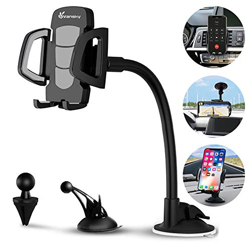 Car Phone Mount, Vansky 3-in-1 Universal Cell Phone Holder Car Air Vent Holder Dashboard Mount Windshield Mount for iPhone Xs Max R X 8 Plus 7 Plus 6S Samsung Galaxy S9 S8 Edge S7 S6 LG Sony and More