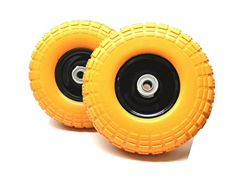 "Set of 2 - 10"" Flat Free Tires Wheels with 5/8"" Center - Solid Tire Wheel for Dolly Hand Truck Cart / All Purpose Utility Tire on Wheel"