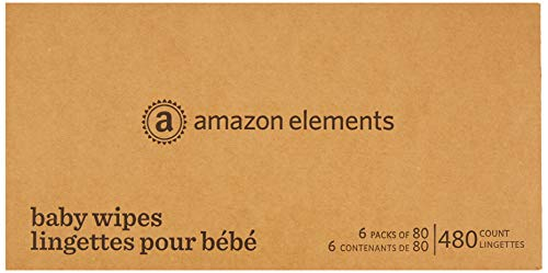 Amazon Elements Updated Formula Baby Wipes, Fresh Scent, 480 Count, Flip-Top Packs