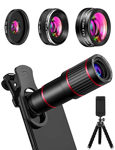 MACTREM Phone Camera Lens, 20X Telephoto Lens + 205° Fisheye Lens + 0.5X Ultra Wide Angle Lens + 25X Super Macro Lens, 7 in 1 Phone telephoto Lens for iPhone 8 7 6 6s Plus X XS Max XR Samsung Android
