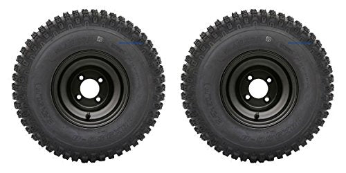 "Slasher Knobby 18x9.50-8"" Golf Cart Tires / ATV Tires and 8"" BLACK Steel Wheel Combo - Set of 2"