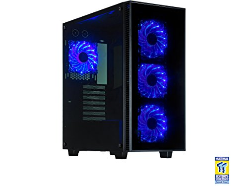 Rosewill ATX Mid Tower Gaming Computer Case, Tempered Glass Panels, Up to 420mm GPU, 360mm Liquid-Cooling, 4 120mm Fans Pre-Installed - CULLINAN