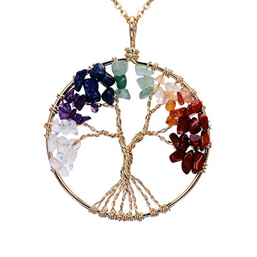 sedmart Gold Wire Wrapped Tree of Life Pendent Necklace Chakra Healing Birthstone Tree Life Jewelry for Family