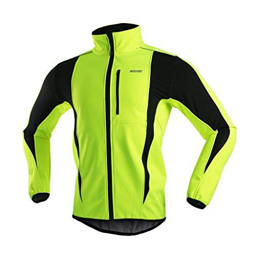 ARSUXEO Winter Warm UP Thermal Softshell Cycling Jacket Windproof Waterproof Bicycle MTB Mountain Bike Clothes 15-K Green Size XX-Large