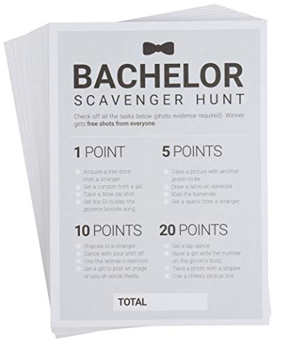 Bachelor Party Games - 50-Pack Bar Scavenger Hunt Drinking Game and Dares, Fun Novelty Cards for Boys Night Out, Bachelor Party Supplies, 5 x 7 Inches