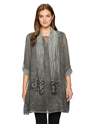 M Made in Italy Women's Missy 3 Piece Woven Tunic, Grey, S