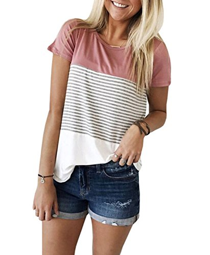 Women's Summer Short Sleeve Striped Junior Blouse Casual Tops T-Shirt (Medium, Pink)