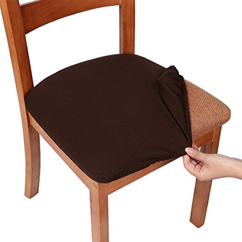Smiry Stretch Spandex Jacquard Dining Room Chair Seat Covers, Removable Washable Anti-Dust Dinning Upholstered Chair Seat Cushion Slipcovers - Set of 4, Chocolate