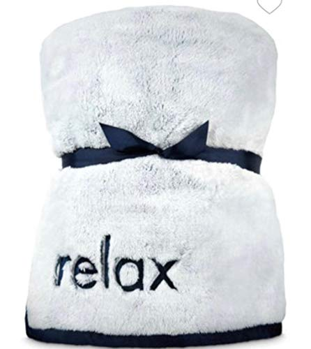Bath and Body Works Faux Fur Blanket Navy Blue Relax Throw 48 X 60 Inches