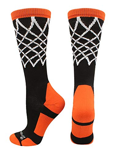 MadSportsStuff Crew Length Elite Basketball Socks with Net (Black/Orange, Medium)