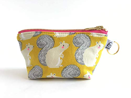 Charlie Change Purse Squirrel Print, Change Purse, Zippered Pouch, Zippered Handbag, Fabric Accessories, Accessories, Cosmetic Bag
