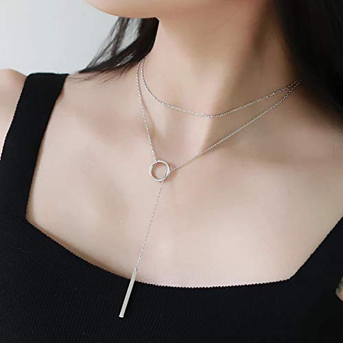 Best Seller Handmade Women's Glam Lady Silver-Tonel Y Chain Long Square Bar Ring Circle Lariat Pendant Necklace Plus Bonus Pearl Lariat Necklace and Jewelry Bag 3 For 1-24hr Shipping