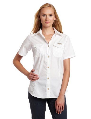 Columbia Women's Bonehead Short Sleeve Fishing Shirt (White, Medium)