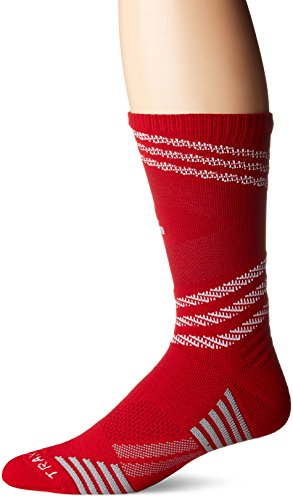 adidas Speed Mesh Basketball/Football Team Crew Socks (1-Pack), Power Red/White/Strong Red/Light Onix, Large