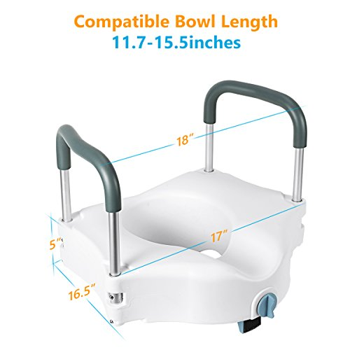 "OasisSpace Medical Raised Toilet Seat- Portable Secure Elevated Riser Safety Rails with Padded Handles - 5"" Toilet Seat Lifter for Bathroom Safety - Assists Disabled, Elderly or Handicapped"