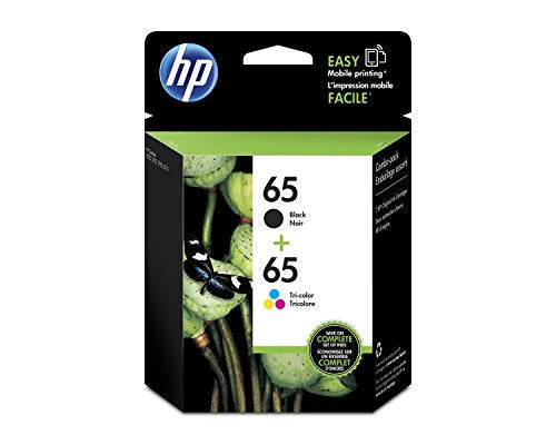 HP 65 Black & Tri-Color Original Ink Cartridges, 2 Cartridges (N9K01AN, N9K02AN) for HP DeskJet 2624 2652 2655 3722 3752 3755 3758