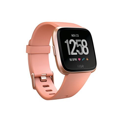 Fitbit Versa Smart Watch, Peach/Rose Gold Aluminium, One Size (S & L Bands Included)