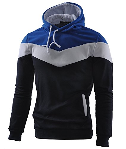 Mooncolour Mens Novelty Color Block Hoodies Cozy Sport Autumn Outwear, Dark Blue, US X-Small