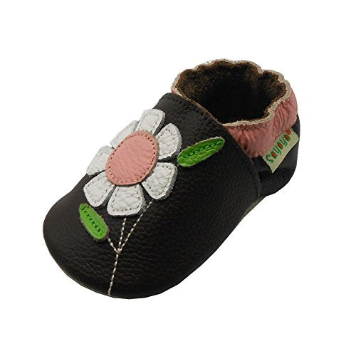 Sayoyo Baby Flowers Soft Sole Brown Leather Infant And Toddler Shoes 12-18Months