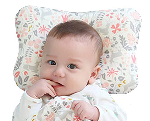 Baby Pillow for Newborn Breathable 3D Air Mesh Organic Cotton, Protection for Flat Head Syndrome Bambi Pink