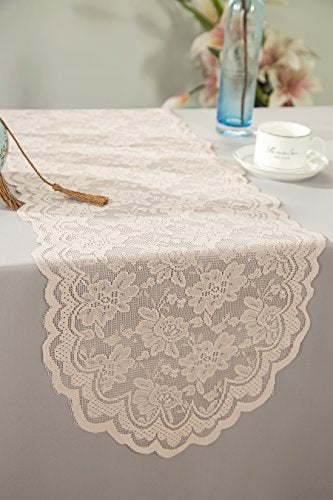 Wedding Linens Inc. Wholesale 13.5 in x108 in Lace Table Runner Wedding Table Runner for Wedding Décor Events Banquet Party Supplies - Blush Pink