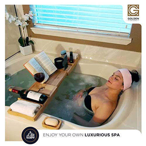 3-in-1 Premium Bathtub Caddy, Laptop Desk & Bed Tray with Extendable Arms and Adjustable Legs - Includes a Free Soap Dish, Two Spa Trays and Tablet/Wine Glass/Candle/Phone Holders - Made of Bamboo