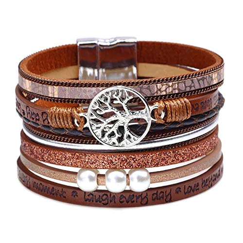 RONLLNA Tree of Life Leather Cuff Bracelet Wrap Bangle Boho Bracelets with Pearl for Women Teen Girl Boy Gifts (Brown Cuff Bracelet) (Brown)