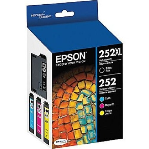 Epson T252XL-BCS Combo Pack, Black High Capacity and C/M/Y Standard Capacity Cartridges