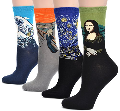Field4U 4 Pairs Women's Famous Painting Art Printed Casual Crew Socks - Painting B , One Size