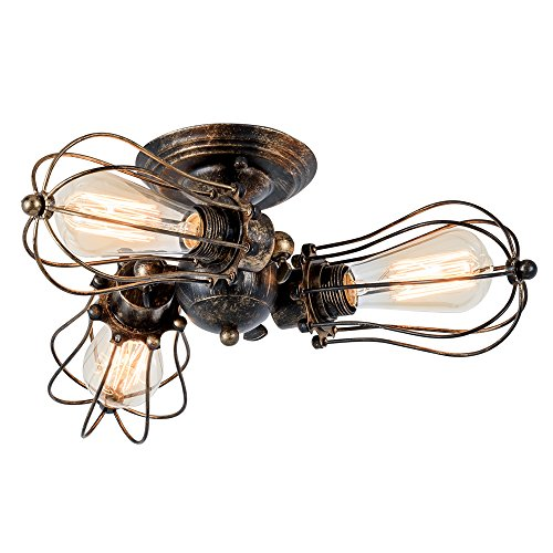 Vintage Ceiling Light Industrial Rotatable Semi-Flush Mount Ceiling Light Metal Lamp Fixtures Painted Finish; Moonkist (With 3 Light) (Bronze)