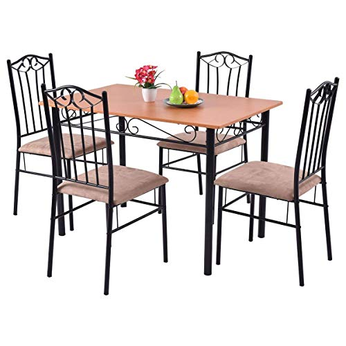 Tangkula Dining Table Set 5 Piece Home Kitchen Dining Room Wood Top Table and Chairs Breaksfast Furniture (Black 003)