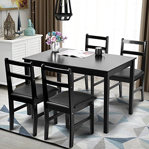 Merax 5pc Dinning Set Kitchen Dining Table with 4 Chairs Soild Wood Dark Espresso Finish