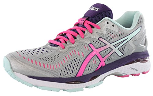 ASICS Women's Gel-Kayano 23 Running Shoe, Silver/Pink Glow/Parachute Purple, 12 M US