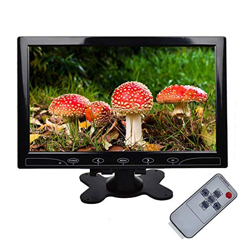 "TOGUARD 10.1"" inch Ultrathin CCTV Security Monitor HD 1024x600 TFT LCD Color Display Screen with HDMI VGA AV Input, Built-in Speaker, Touch Keys, Remote Control for Raspberry Pi Computer Use"