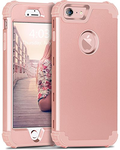 iPhone 6S Case, iPhone 6 Case, BENTOBEN 3 in 1 Hybrid Hard PC & Soft Silicone Heavy Duty Rugged Bumper Shockproof Anti Slip Full-Body Protective Case for iPhone 6/6S (4.7 inch), Rose Gold