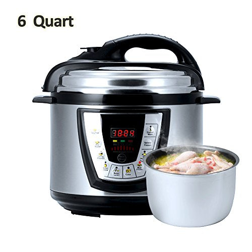 Aucma prc1 Electric Pressure Cooker Kitchen & Dining, 13.4 x 12.1 x 12.5 inches, Silver Black