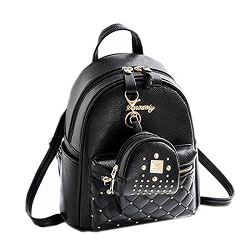Cute Small Backpack Mini Purse Casual Daypacks Leather for Teen Girls and Women (Black)