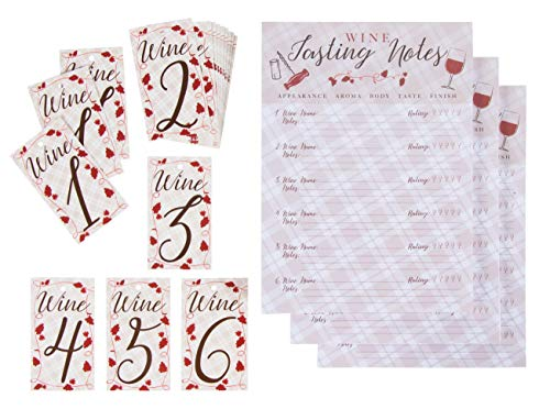 Wine Tasting Game Kit - 3-Set Wine Tasting Score Sheets and Bottle Number Tags, Wine Tasting Event Party Supplies, 3 Pads of Score Sheets, 50 Sheets Each Pad, 6.2 x 8.6 Inches