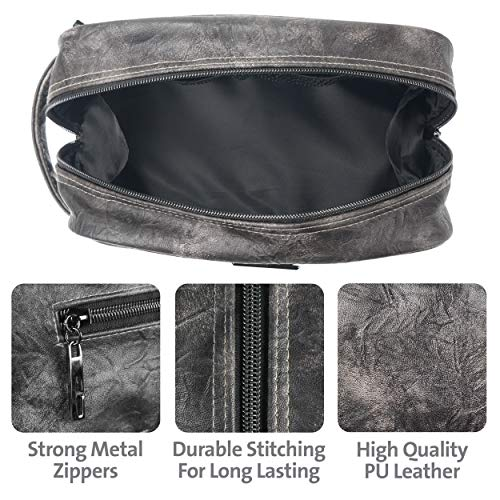 15620ab22e Leather Toiletry Bag for Men - Dopp Kit for Mens Toiletries by LVLY - Travel  Bags