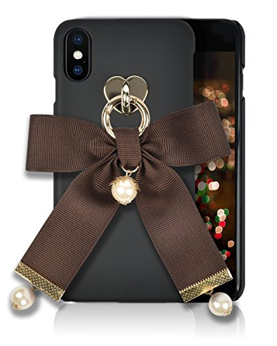iphone X Case [HandMade Stripe Ribbon Series] Silky SF Coating Hard PC [Detachable Ring, Ivory Faux Pearl] Ultra Slim, Light Weight, Apple iphone X Cover (Brown)