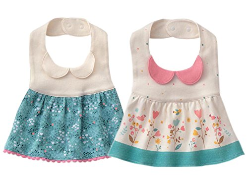 GZMM Baby Girl's Princess Type Waterproof Bibs with Adjustable Snaps,2 Pack