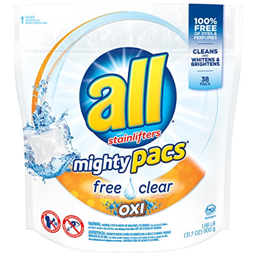 all Mighty Pacs Laundry Detergent with OXI Stain Removers and Whiteners, Free Clear, Pouch, 38 Count