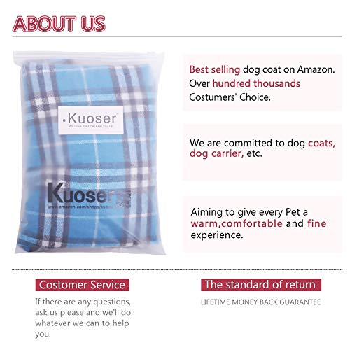 Kuoser Dog Coats Dog Jackets Waterproof Coats for Dogs Windproof Cold Weather Coats Small Medium Large Dog Clothes Reversible British Style Plaid Dog Sweaters Pets Apparel Winter Vest for Dog Blue S
