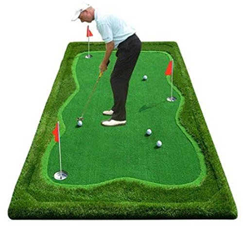 77tech Golf Putting Green System Professional Practice Green Long Challenging Putter Indoor/Outdoor Golf Training Mat Aid Equipment (5'x10' upgrade3)