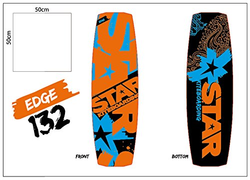 Star Kiteboarding Edge 133 Board, Kitesurfing Boards, Freeride, Powerful, Maneuvrable, 133 x 41 cm All Wind Condition Twin Tips All Riders include Footstraps and 5.2cm Fins