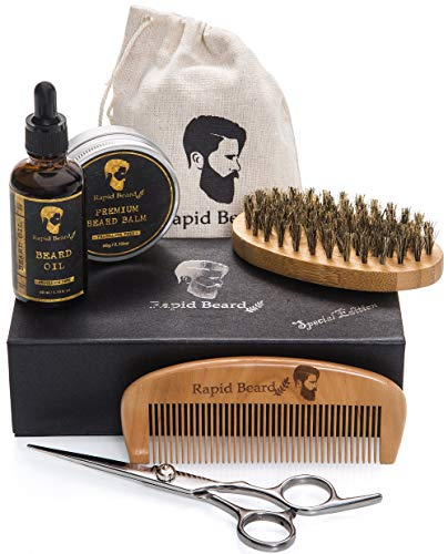 Beard Grooming & Trimming Kit for Men Care - Beard Brush, Beard Comb, Unscented Beard Oil Leave-in Conditioner, Mustache & Beard Balm Butter Wax stuffers, Barber Scissors for stocking, Growth Gift set