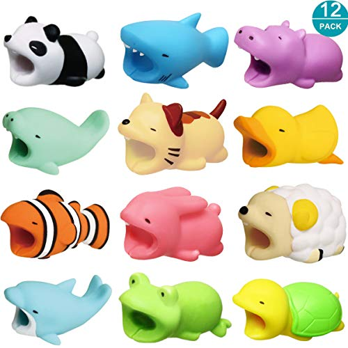 Newseego Compatible iPhone Cable Protector Charger Saver Cable Chewers Cable Cute Animal Bite Cable Accessory-12 Pack