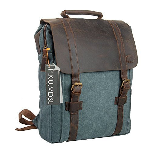 "Canvas Backpack, P.KU.VDSL 15"" Laptop Backpack Vintage Canvas Leather Rucksack Travel Bag Daypacks Men Outdoor Sports Recreation (Blue-20)"
