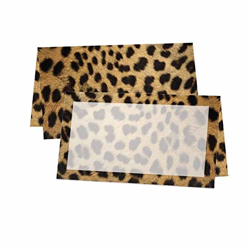 Full Cheetah Print with Border Place Cards - Wildlife Animal Theme Design - Placement Table Name Seating Stationery Party Supplies - Any Occasion or Event - Dinner Food Display - Product Tag Label Set